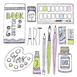 Art supplies for drawing. Sketches vector set with paints, palette, sketchbook and other materials.  Stock Photos