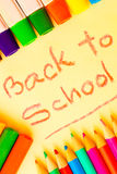 Art supplies framing the words BACK TO SCHOOL Royalty Free Stock Image