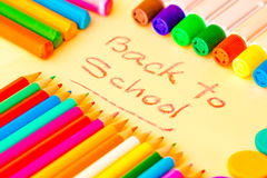 Art supplies framing the words BACK TO SCHOOL Stock Photo