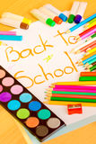 Art supplies framing the words BACK TO SCHOOL Stock Image