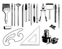 Art Supplies. Here are a few vector graphics of art supplies Stock Photography
