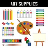 Art Supplies: paints, easel, watercolors, brushes, palette. Art supplies collection: colored pencils, sharpeners, tubes of paint, oil pastel crayons, felt tip stock illustration