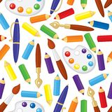 Art supplies pattern seamless Stock Photography