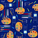 Art Supplies Seamless Repeat Pattern Royalty Free Stock Photos