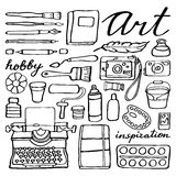 Art supplies set. Hand-drawn cartoon collection of Royalty Free Stock Image