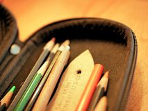 Colored Pencils and Art Supplies in Case Royalty Free Stock Photo