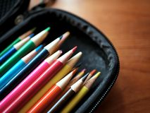 Colored Pencils and Art Supplies in Case Stock Photos
