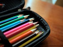 Colored Pencils and Art Supplies in Case stock images