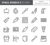 Art supplies theme pixel perfect thin line icons. Set of elements of paintbrush, graphic tablet, canvas, palette, paints and other. Artist tools related vector illustration