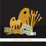 Art supplies and tools vector pack. Oil painting tools set. Materials for painting. Vector illustration Royalty Free Stock Photos