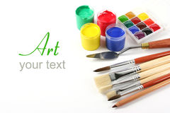 Art supplies on white Royalty Free Stock Photography