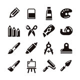 Art supply icon. Various art supply icon in white background vector illustration