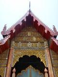 Art sur le hall d'image de Bouddha dans le vieux temple thaïlandais du nord 3 Photos stock