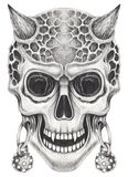 Art Surreal Devil Skull Tattoo illustration stock