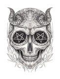 Art Surreal Devil Skull Tattoo illustration libre de droits