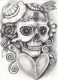 Art Surreal Fantasy Skull Illustration de Vecteur