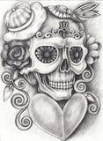 Art Surreal Fantasy Skull. Art Design surreal fantasy Skull.Hand pencil drawing on paper vector illustration