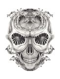 Art Surreal Fantasy Skull Tattoo Illustration de Vecteur