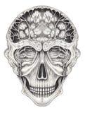 Art Surreal Fantasy Skull Tattoo Photo stock