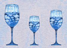 Art Surreal Fantasy Three Wine-Glas Stockfotos