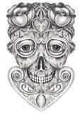 Art surreal gem mix skull. Royalty Free Stock Photography