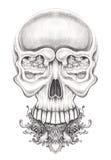 Art surreal skull tattoo. Royalty Free Stock Images