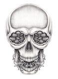 Art surreal skull tattoo. Stock Photos