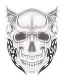 Art surreal skull tattoo. Stock Image