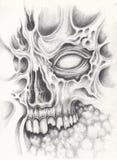 Art surreal skull tattoo. Royalty Free Stock Photography
