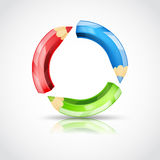 Art symbol with color pencils Royalty Free Stock Images