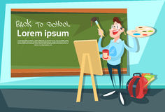 Art Teacher Over Class Board Back To School Education Banner. Flat Vector Illustration Royalty Free Stock Photos