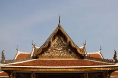 Art. Temple Roof And The Pediment Decorated With Ornate Thai Art. Vihara in Saket temple.  Roof and the pediment are magnificently  decorated with thai royalty free stock photo