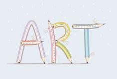 Art Texte drôle se composant des crayons sur le fond bleu Images stock