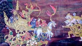 Art thaïlandais de peinture de style vieux et x28 ; 1931& x29 ; de l'histoire de Ramayana sur le mur de temple de Wat Phra Kaew c Photographie stock libre de droits