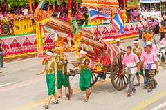 Art thaïlandais traditionnel sur la fusée antique dans les défilés 'Boon Bang Fai Photos stock