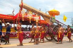 Art thaïlandais traditionnel sur la fusée antique dans les défilés 'Boon Bang Fai Image stock