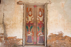 Art thai painting on door in temple Royalty Free Stock Photos