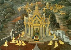 Art thai painting on wall in temple Royalty Free Stock Photography