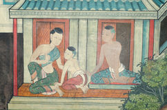 Art thai painting on wall in temple. Stock Images