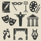 Art theater icons set Royalty Free Stock Photo