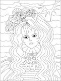 Art therapy with coloring water girl Stock Photography