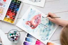 Art therapy painting class watercolor inks brush. Art therapy. painting classes or courses. creativity inspiration expression concept. watercolor inks palette stock photo