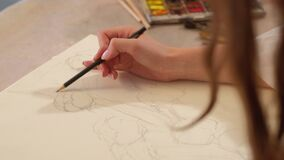 Art therapy woman creating abstract sketch pencil