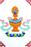 Art tibétain antique de peinture de mur Photo libre de droits