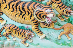 Mural painting Art tiger wall and wallpaper background Royalty Free Stock Image