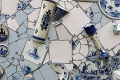 Art. These tiles delfs blue are incorporated into a work of art. In the work are also other objects verwerkt.zoals cup Stock Image