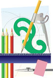 Art Tools. An illustration showing various tools of art like pencils, ruler & compass Royalty Free Stock Image