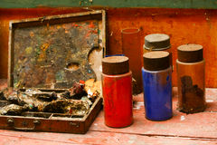 Art Paint Tools. Abandoned Art Paint Tools rusty box Royalty Free Stock Image