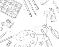 Art tools background Stock Image