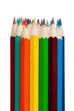 Art tools - color pencils on white background Stock Images